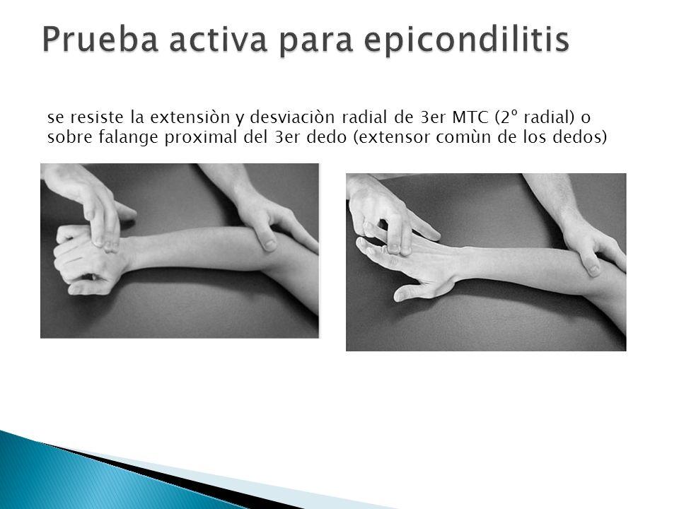 se resiste la extensiòn y desviaciòn radial de 3er MTC (2º radial) o sobre falange proximal del 3er dedo (extensor comùn de los dedos)