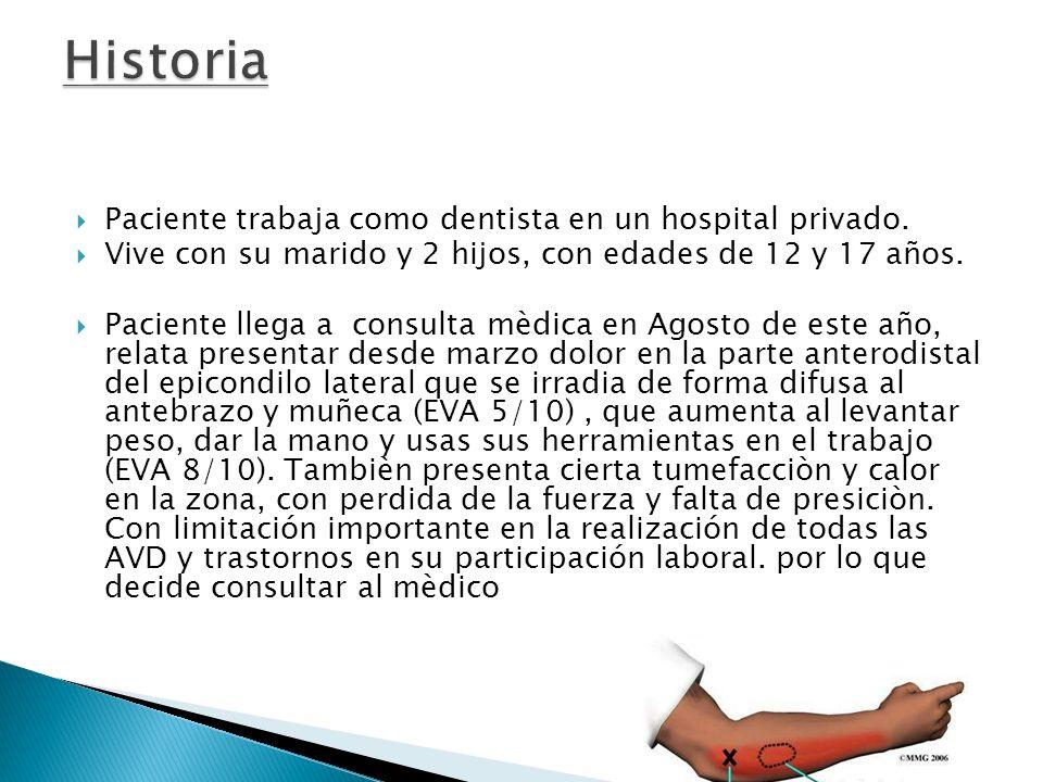 Diagnostico mèdico: epicondilitis lateral de codo izquierdo.