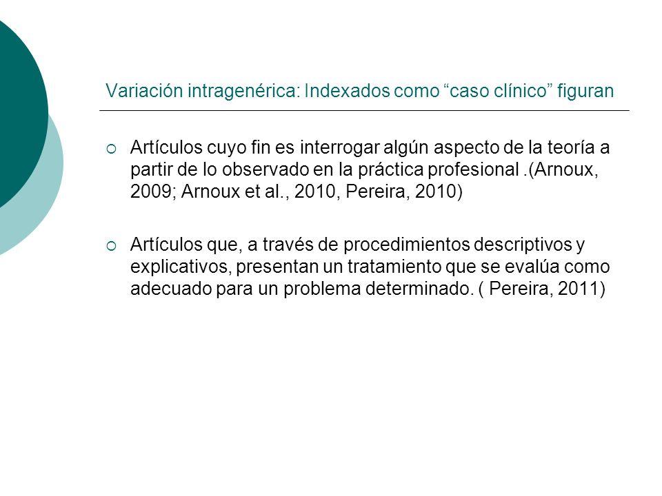 Variación intragenérica: Indexados como caso clínico figuran Artículos cuyo fin es interrogar algún aspecto de la teoría a partir de lo observado en l