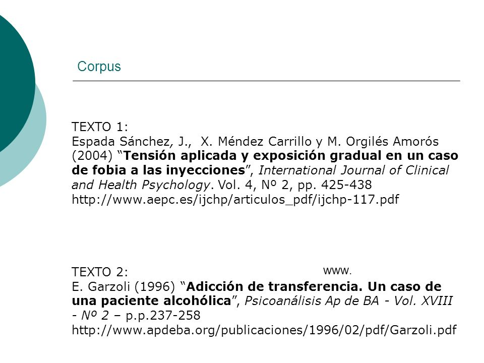 Corpus www. TEXTO 1: Espada Sánchez, J., X. Méndez Carrillo y M. Orgilés Amorós (2004) Tensión aplicada y exposición gradual en un caso de fobia a las