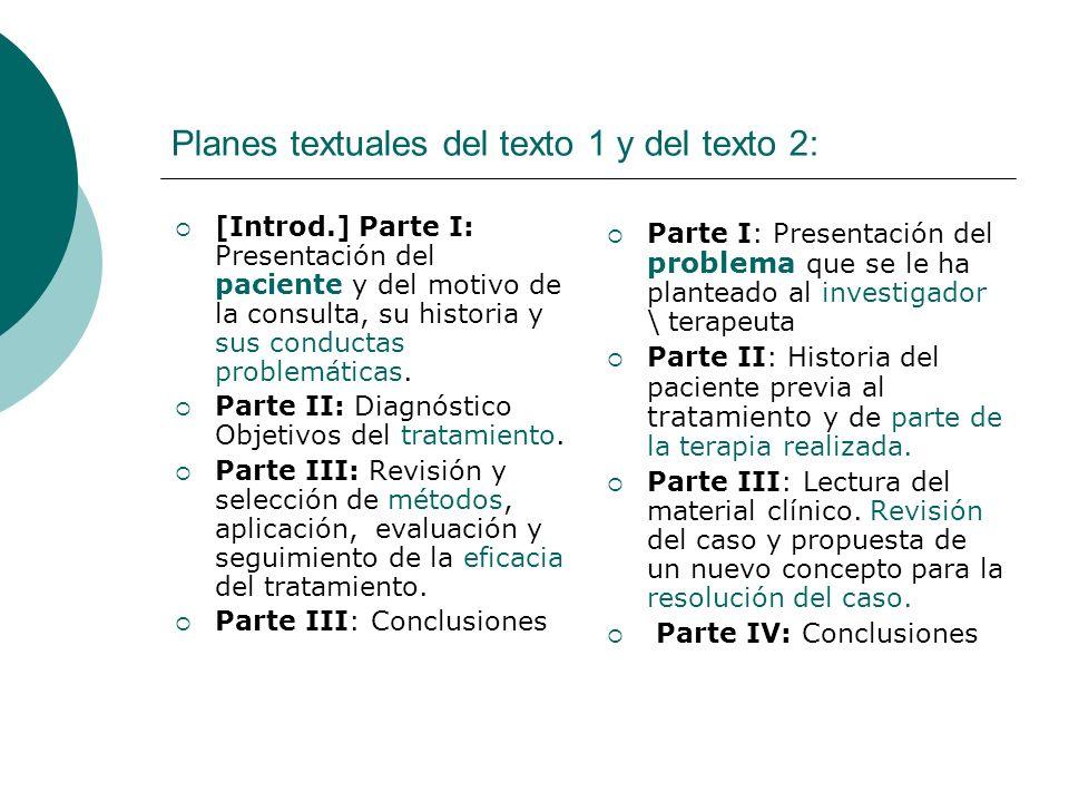 Planes textuales del texto 1 y del texto 2: [Introd.] Parte I: Presentación del paciente y del motivo de la consulta, su historia y sus conductas prob