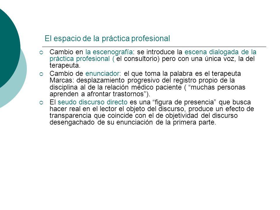 El espacio de la práctica profesional Cambio en la escenografía: se introduce la escena dialogada de la práctica profesional ( el consultorio) pero co