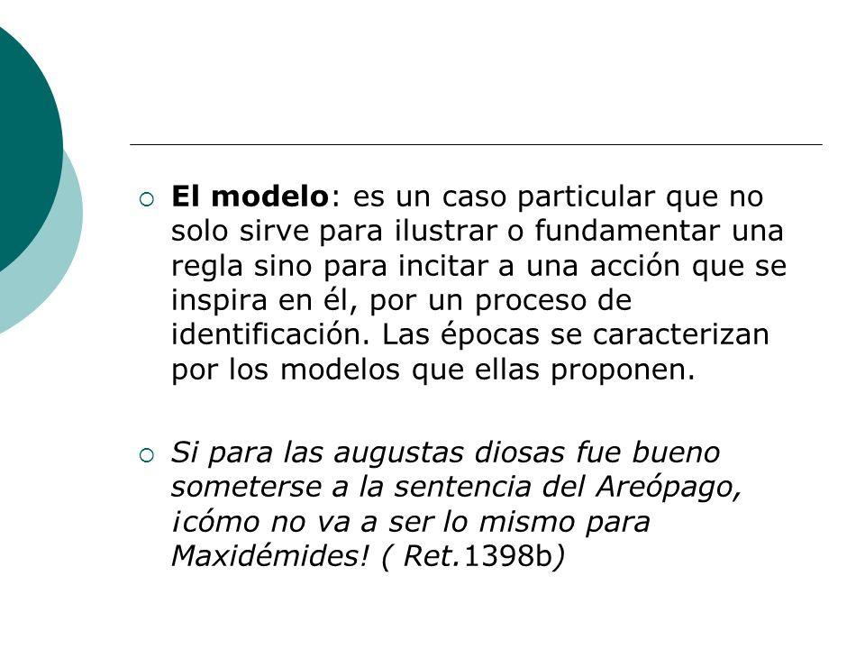 El modelo: es un caso particular que no solo sirve para ilustrar o fundamentar una regla sino para incitar a una acción que se inspira en él, por un p