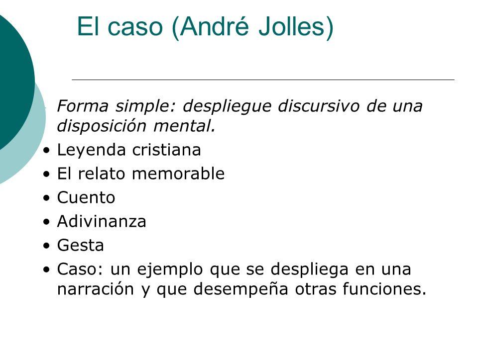El caso (André Jolles) - Forma simple: despliegue discursivo de una disposición mental. Leyenda cristiana El relato memorable Cuento Adivinanza Gesta