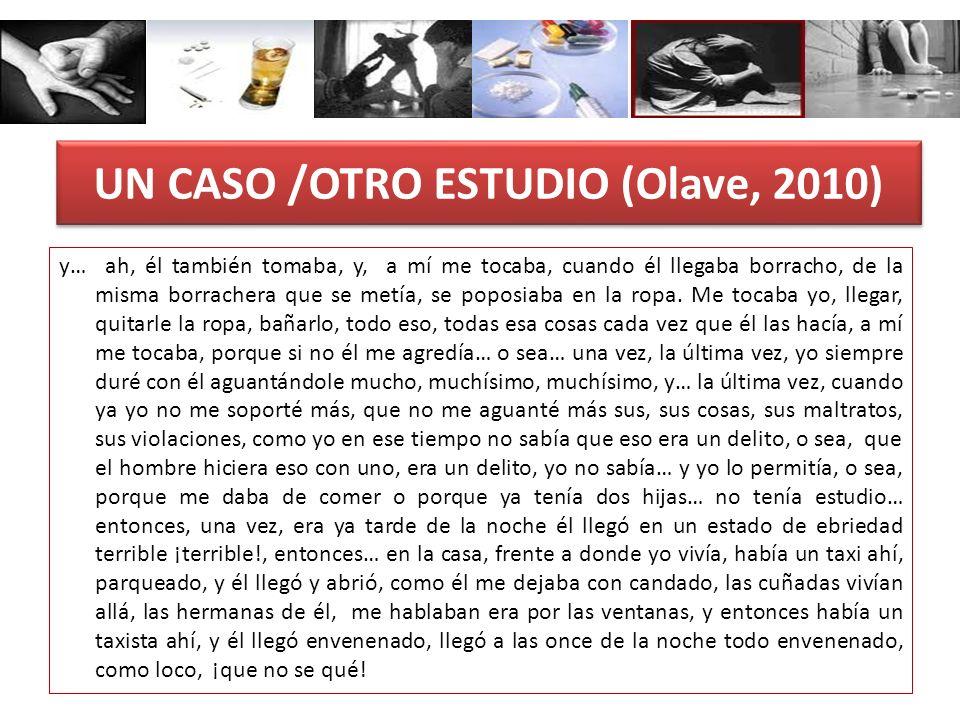 UN CASO /OTRO ESTUDIO (Olave, 2010) y… ah, él también tomaba, y, a mí me tocaba, cuando él llegaba borracho, de la misma borrachera que se metía, se p