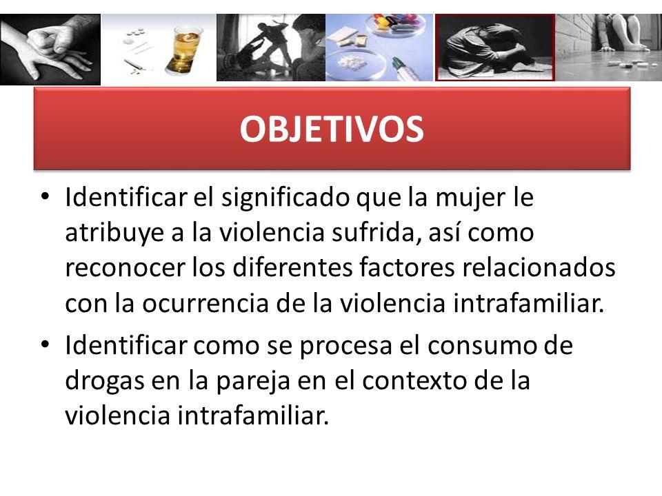 OBJETIVOS Identificar el significado que la mujer le atribuye a la violencia sufrida, así como reconocer los diferentes factores relacionados con la o