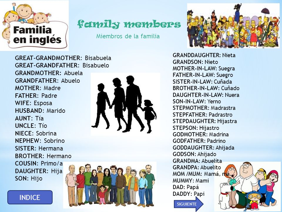 family members Miembros de la familia INDICE GREAT-GRANDMOTHER: Bisabuela GREAT-GRANDFATHER: Bisabuelo GRANDMOTHER: Abuela GRANDFATHER: Abuelo MOTHER: