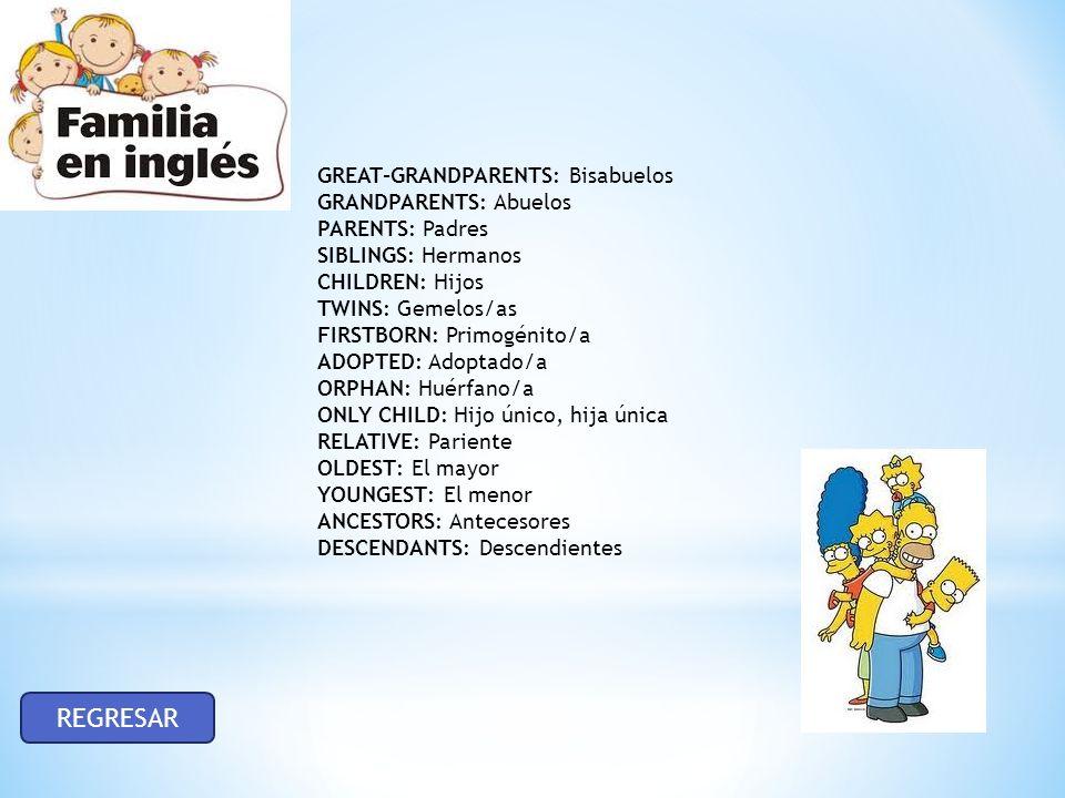 GREAT-GRANDPARENTS: Bisabuelos GRANDPARENTS: Abuelos PARENTS: Padres SIBLINGS: Hermanos CHILDREN: Hijos TWINS: Gemelos/as FIRSTBORN: Primogénito/a ADOPTED: Adoptado/a ORPHAN: Huérfano/a ONLY CHILD: Hijo único, hija única RELATIVE: Pariente OLDEST: El mayor YOUNGEST: El menor ANCESTORS: Antecesores DESCENDANTS: Descendientes REGRESAR