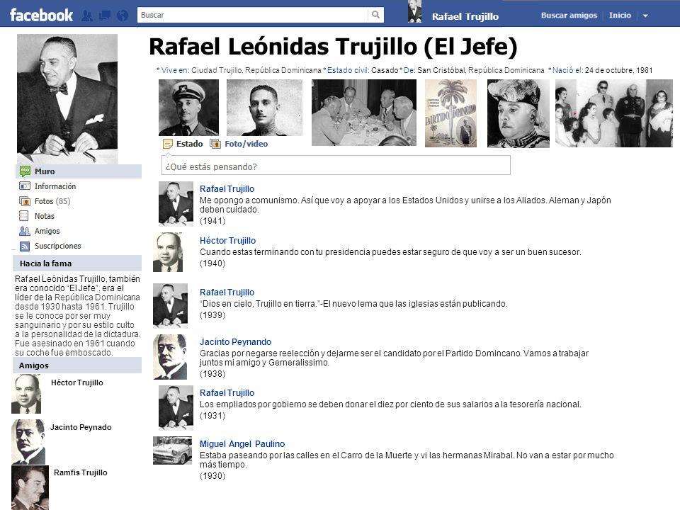 Rafael Trujillo Me opongo a comunismo. Así que voy a apoyar a los Estados Unidos y unirse a los Aliados. Aleman y Japón deben cuidado. (1941) Héctor T