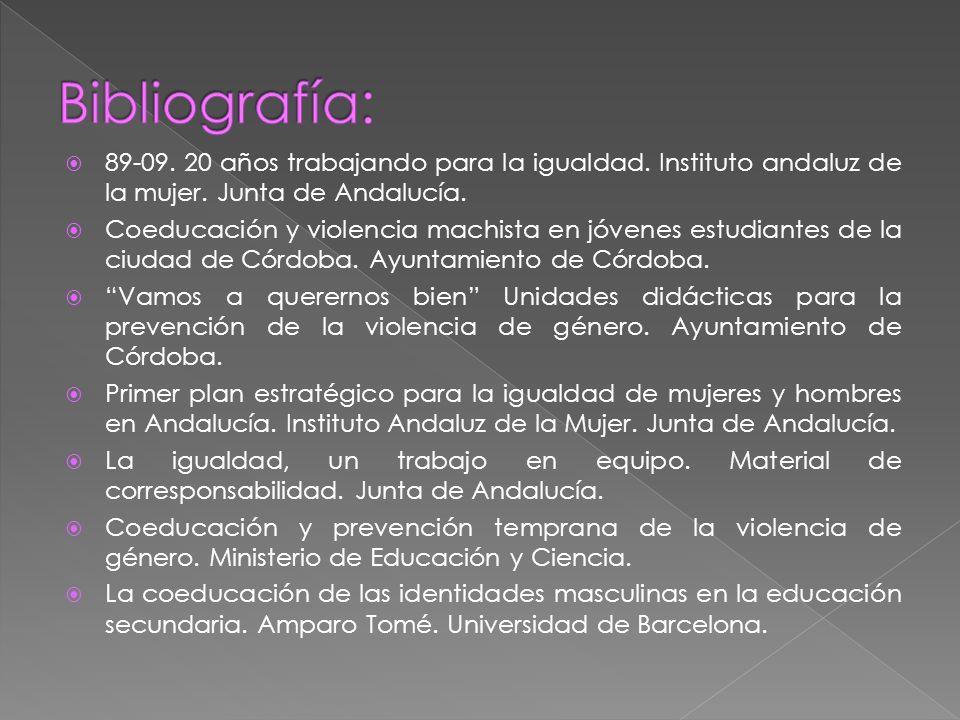 89-09. 20 años trabajando para la igualdad. Instituto andaluz de la mujer. Junta de Andalucía. Coeducación y violencia machista en jóvenes estudiantes