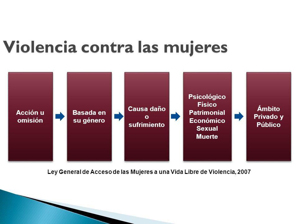 Ley General de Acceso de las Mujeres a una Vida Libre de Violencia, 2007 Acción u omisión Basada en su género Causa daño o sufrimiento Psicológico Fís