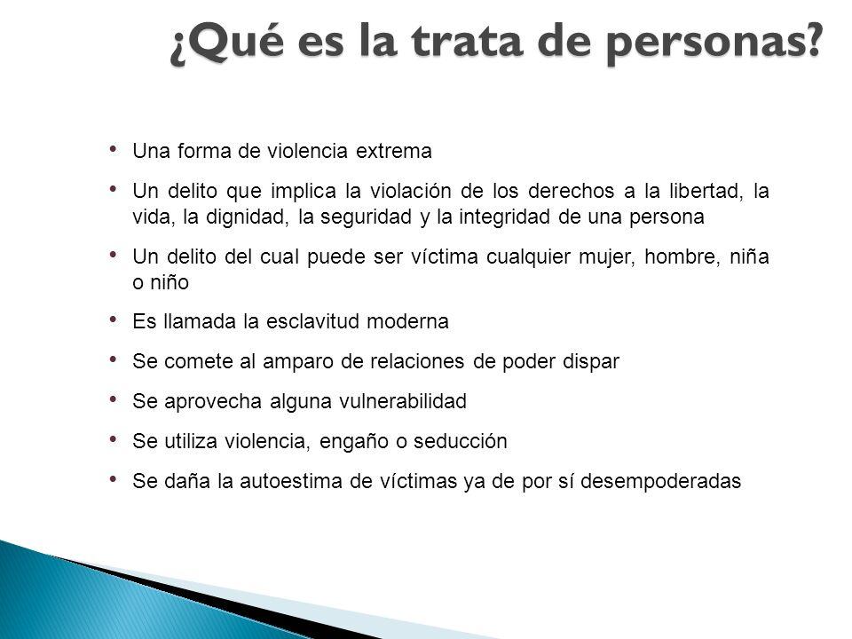 ¿Qué es la trata de personas? Una forma de violencia extrema Un delito que implica la violación de los derechos a la libertad, la vida, la dignidad, l