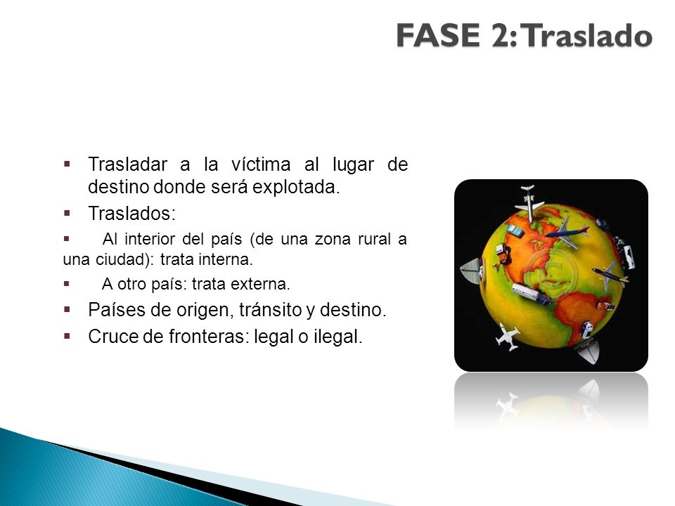FASE 2: Traslado Trasladar a la víctima al lugar de destino donde será explotada. Traslados: Al interior del país (de una zona rural a una ciudad): tr