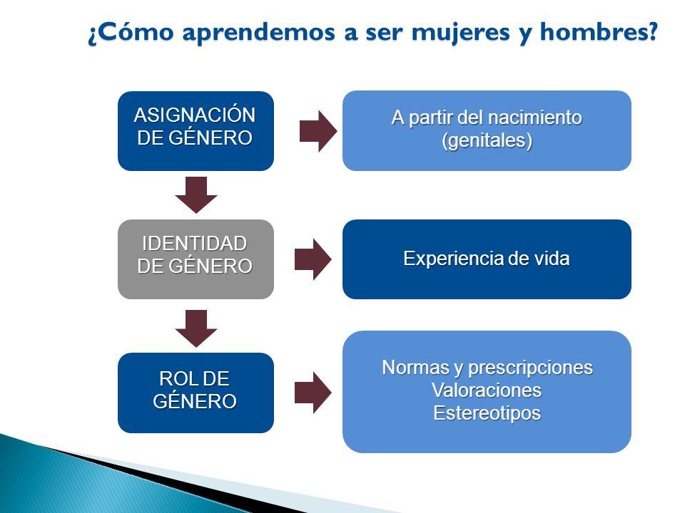 Normas y prescripciones ValoracionesEstereotipos ASIGNACIÓN DE GÉNERO A partir del nacimiento (genitales) IDENTIDAD DE GÉNERO Experiencia de vida ROL