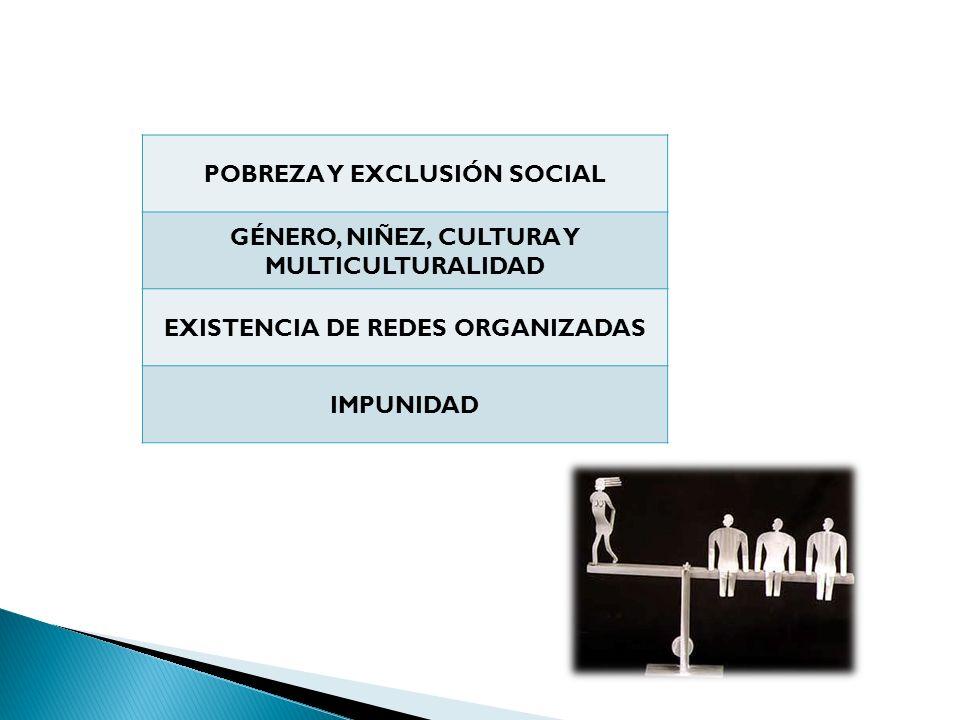 Factores que favorecen la trata POBREZA Y EXCLUSIÓN SOCIAL GÉNERO, NIÑEZ, CULTURA Y MULTICULTURALIDAD EXISTENCIA DE REDES ORGANIZADAS IMPUNIDAD