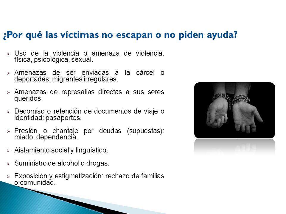 Uso de la violencia o amenaza de violencia: física, psicológica, sexual. Amenazas de ser enviadas a la cárcel o deportadas: migrantes irregulares. Ame
