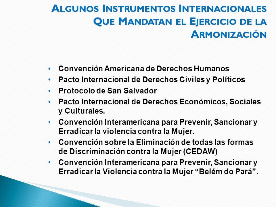 A LGUNOS I NSTRUMENTOS I NTERNACIONALES Q UE M ANDATAN EL E JERCICIO DE LA A RMONIZACIÓN Convención Americana de Derechos Humanos Pacto Internacional