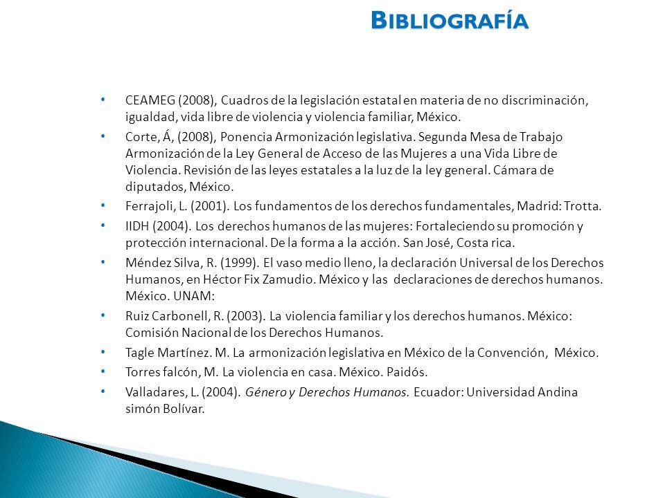 B IBLIOGRAFÍA CEAMEG (2008), Cuadros de la legislación estatal en materia de no discriminación, igualdad, vida libre de violencia y violencia familiar
