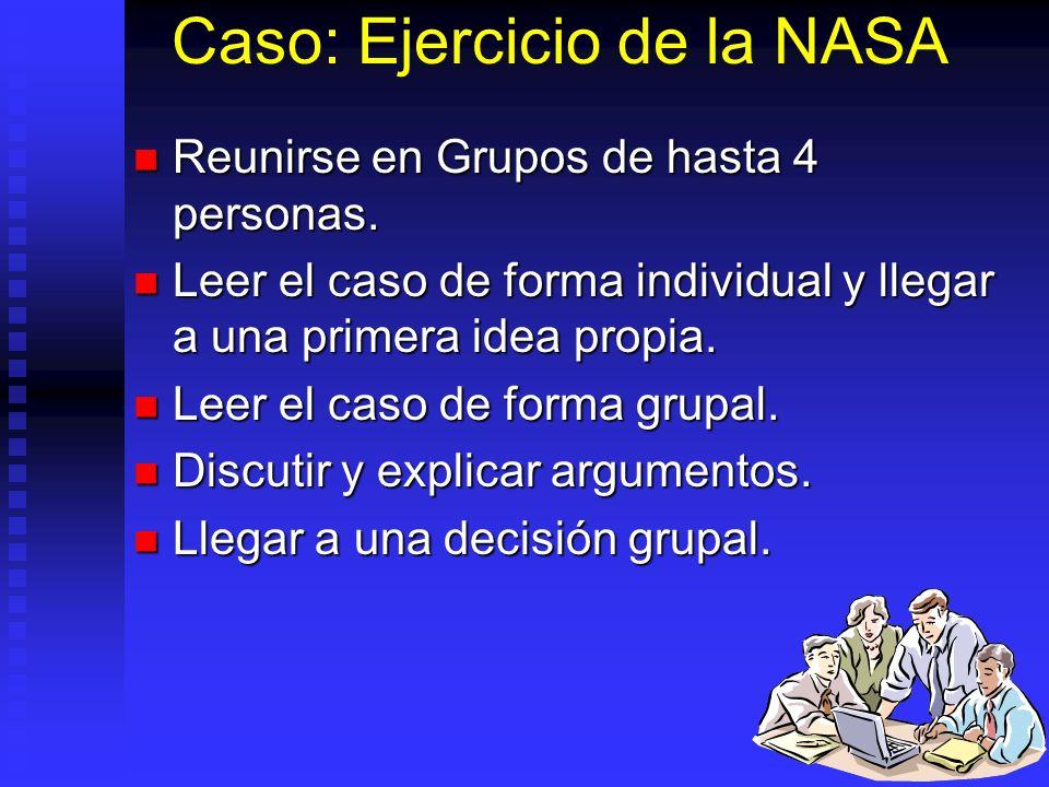Caso: Ejercicio de la NASA Reunirse en Grupos de hasta 4 personas. Reunirse en Grupos de hasta 4 personas. Leer el caso de forma individual y llegar a