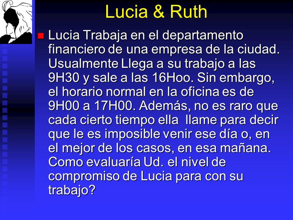 Lucia & Ruth Lucia Trabaja en el departamento financiero de una empresa de la ciudad. Usualmente Llega a su trabajo a las 9H30 y sale a las 16Hoo. Sin