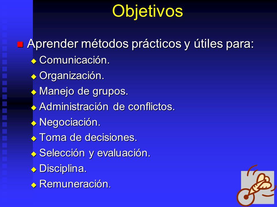 Objetivos Aprender métodos prácticos y útiles para: Aprender métodos prácticos y útiles para: Comunicación. Comunicación. Organización. Organización.