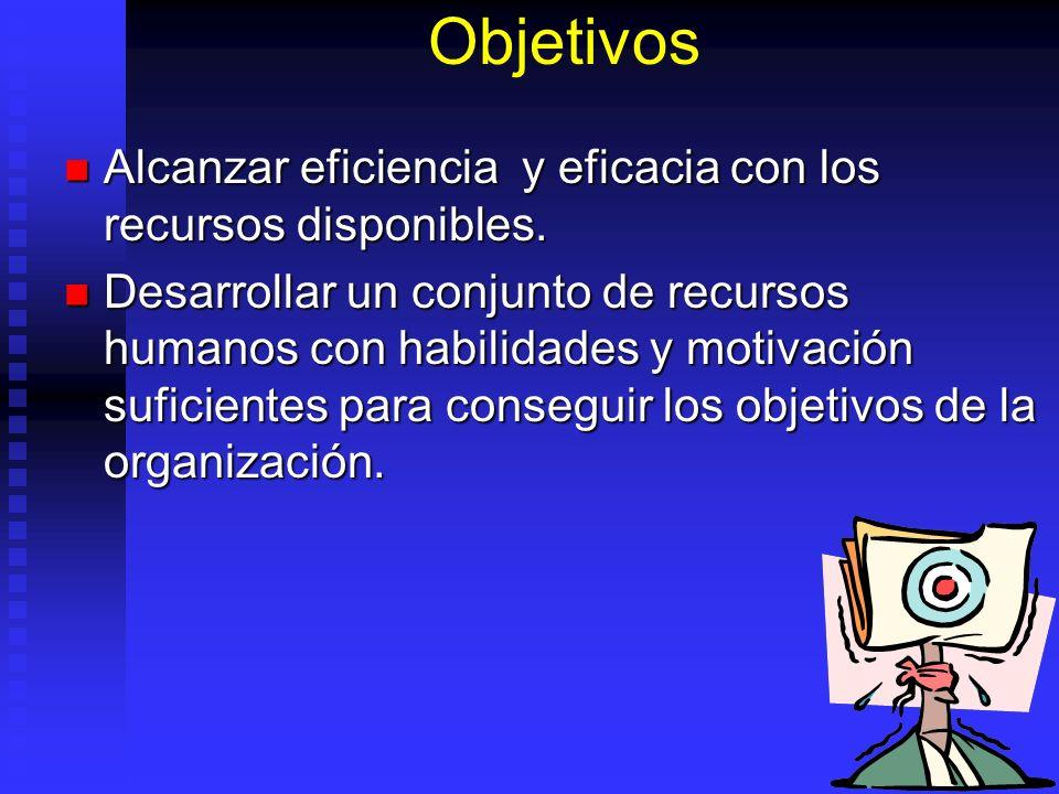Objetivos Alcanzar eficiencia y eficacia con los recursos disponibles. Alcanzar eficiencia y eficacia con los recursos disponibles. Desarrollar un con