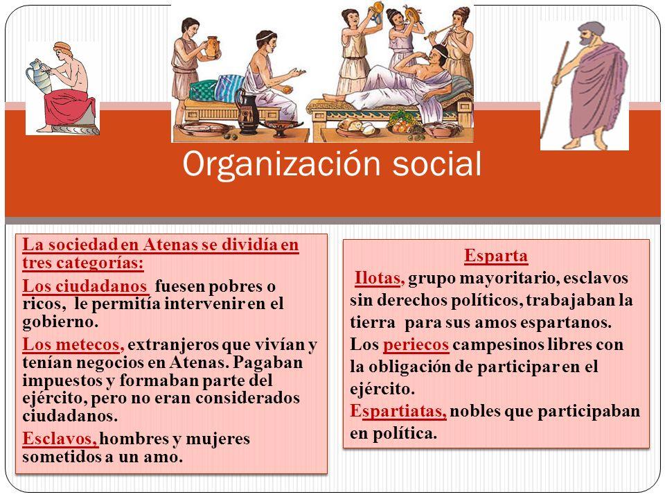 La sociedad en Atenas se dividía en tres categorías: Los ciudadanos fuesen pobres o ricos, le permitía intervenir en el gobierno. Los metecos, extranj