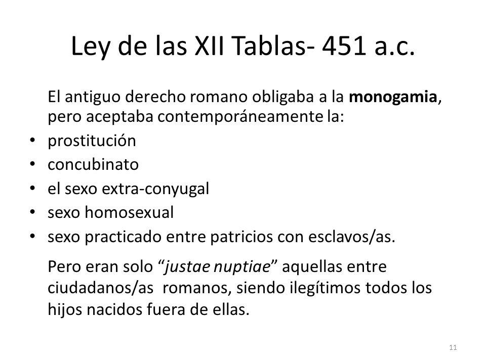 Ley de las XII Tablas- 451 a.c. El antiguo derecho romano obligaba a la monogamia, pero aceptaba contemporáneamente la: prostitución concubinato el se