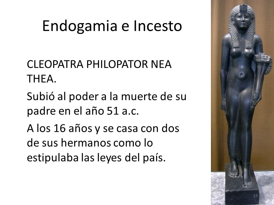 Endogamia e Incesto CLEOPATRA PHILOPATOR NEA THEA. Subió al poder a la muerte de su padre en el año 51 a.c. A los 16 años y se casa con dos de sus her