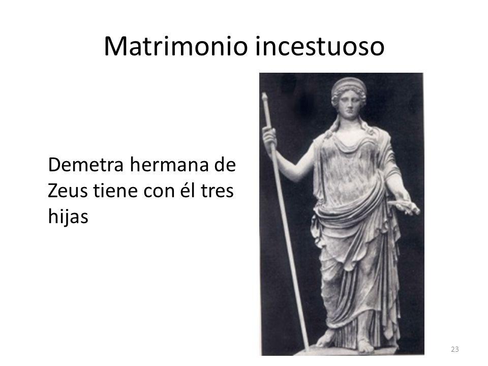 Matrimonio incestuoso Demetra hermana de Zeus tiene con él tres hijas 23