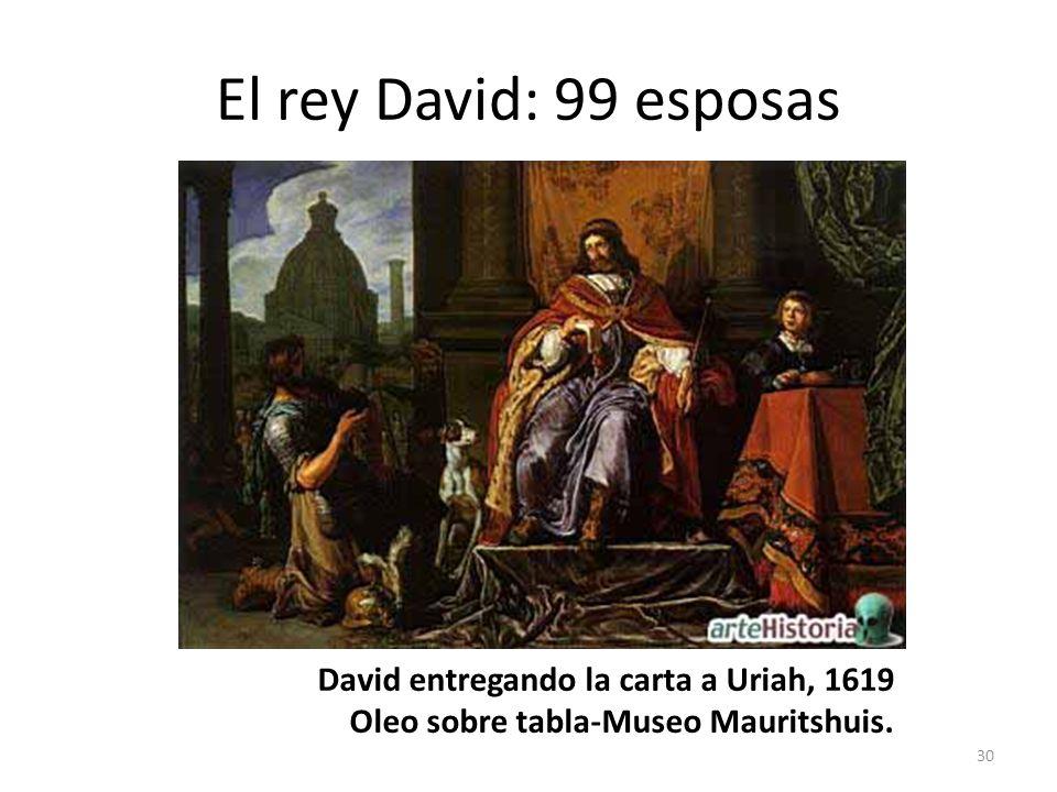 El rey David: 99 esposas 30 David entregando la carta a Uriah, 1619 Oleo sobre tabla-Museo Mauritshuis.