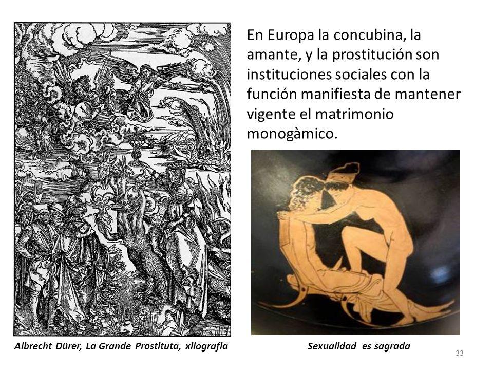 En Europa la concubina, la amante, y la prostitución son instituciones sociales con la función manifiesta de mantener vigente el matrimonio monogàmico