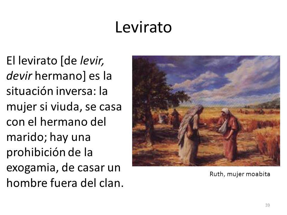 Levirato El levirato [de levir, devir hermano] es la situación inversa: la mujer si viuda, se casa con el hermano del marido; hay una prohibición de l