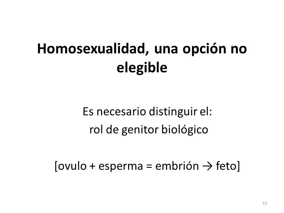 Homosexualidad, una opción no elegible Es necesario distinguir el: rol de genitor biológico [ovulo + esperma = embrión feto] 53