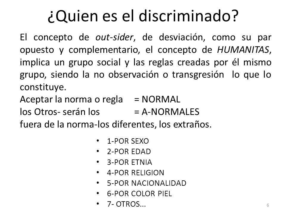 ¿Quien es el discriminado? 1-POR SEXO 2-POR EDAD 3-POR ETNIA 4-POR RELIGION 5-POR NACIONALIDAD 6-POR COLOR PIEL 7- OTROS... 6 El concepto de out-sider