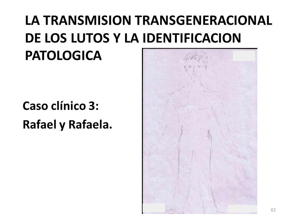 LA TRANSMISION TRANSGENERACIONAL DE LOS LUTOS Y LA IDENTIFICACION PATOLOGICA Caso clínico 3: Rafael y Rafaela. 63