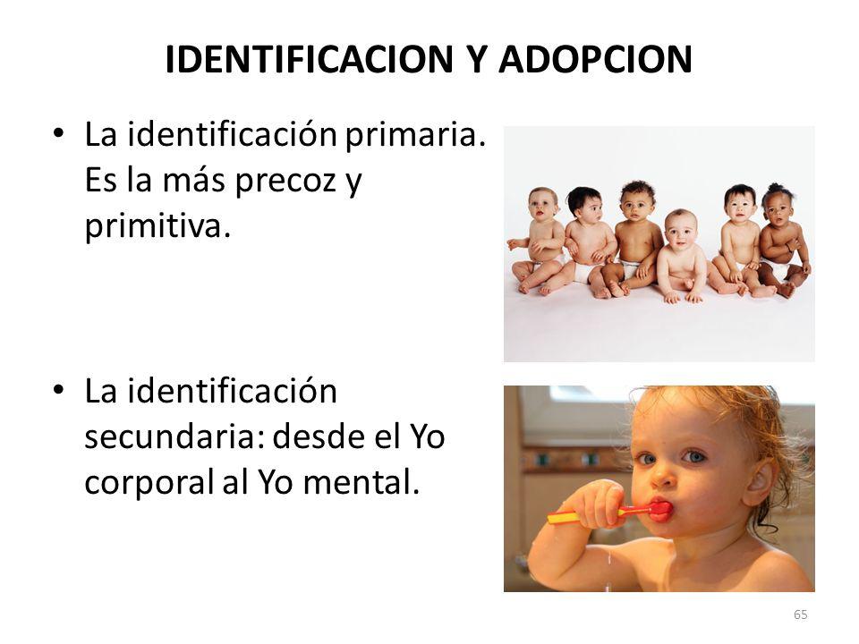 IDENTIFICACION Y ADOPCION La identificación primaria. Es la más precoz y primitiva. La identificación secundaria: desde el Yo corporal al Yo mental. 6