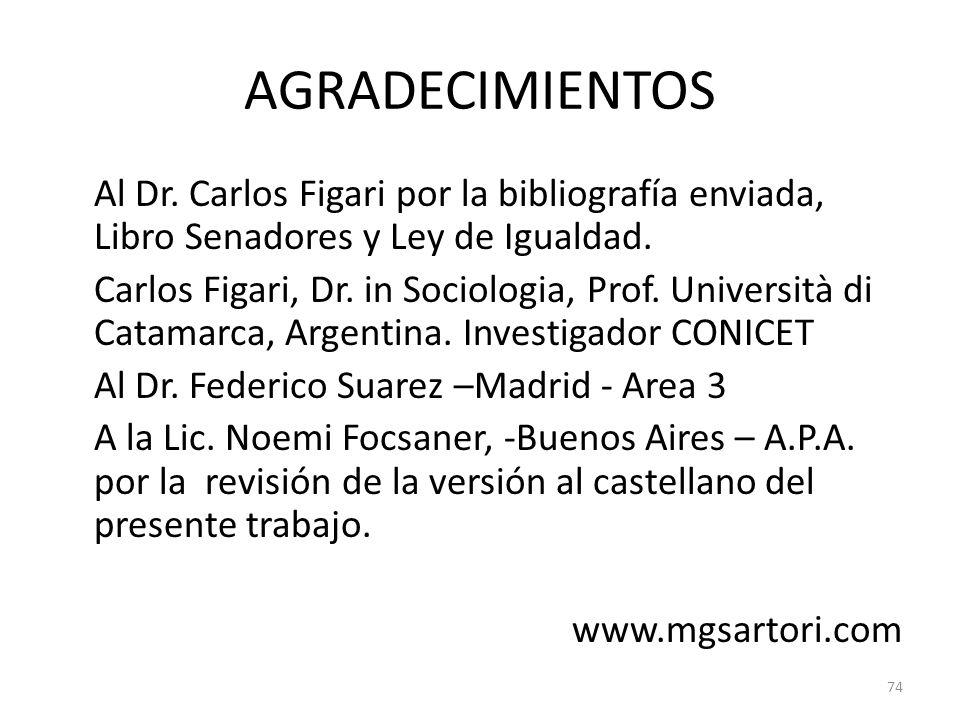 AGRADECIMIENTOS Al Dr. Carlos Figari por la bibliografía enviada, Libro Senadores y Ley de Igualdad. Carlos Figari, Dr. in Sociologia, Prof. Universit