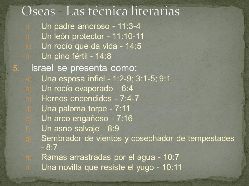 i) Un padre amoroso - 11:3-4 j) Un león protector - 11:10-11 k) Un rocío que da vida - 14:5 l) Un pino fértil - 14:8 5. Israel se presenta como: a) Un