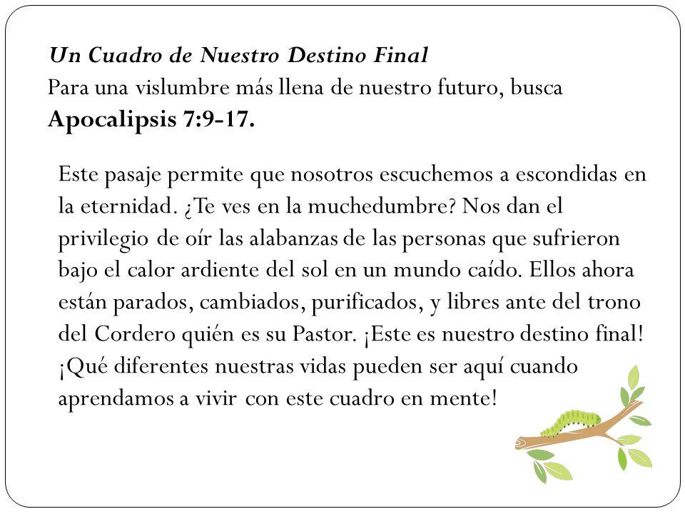 Un Cuadro de Nuestro Destino Final Para una vislumbre más llena de nuestro futuro, busca Apocalipsis 7:9-17. Este pasaje permite que nosotros escuchem