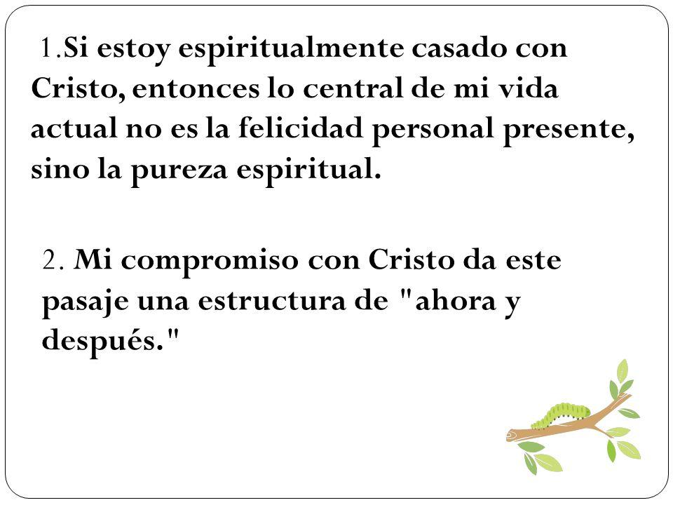 1.Si estoy espiritualmente casado con Cristo, entonces lo central de mi vida actual no es la felicidad personal presente, sino la pureza espiritual. 2