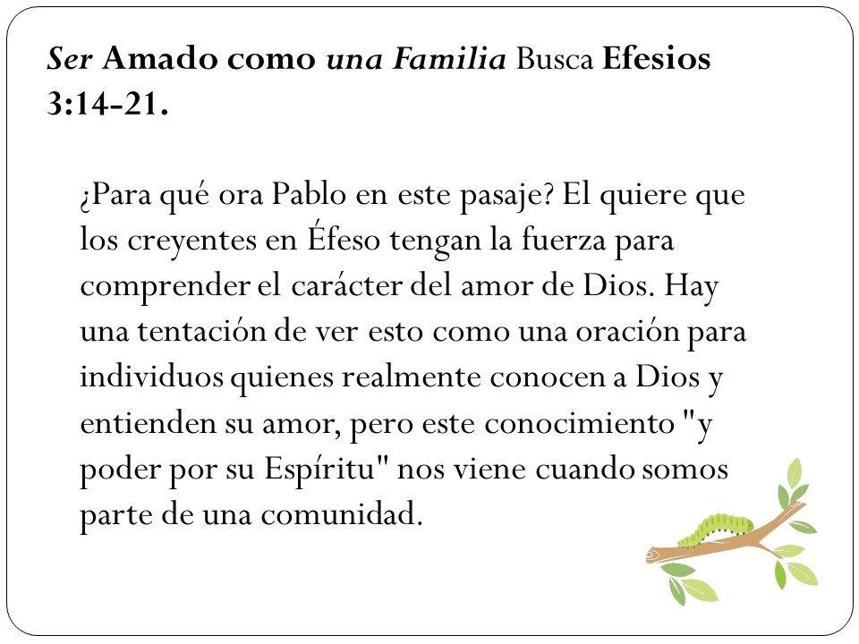 Ser Amado como una Familia Busca Efesios 3:14-21. ¿Para qué ora Pablo en este pasaje? El quiere que los creyentes en Éfeso tengan la fuerza para compr