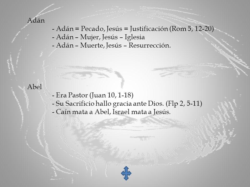Adán - Adán = Pecado, Jesús = Justificación (Rom 5, 12-20) - Adán – Mujer, Jesús – Iglesia - Adán – Muerte, Jesús – Resurrección. Abel - Era Pastor (J
