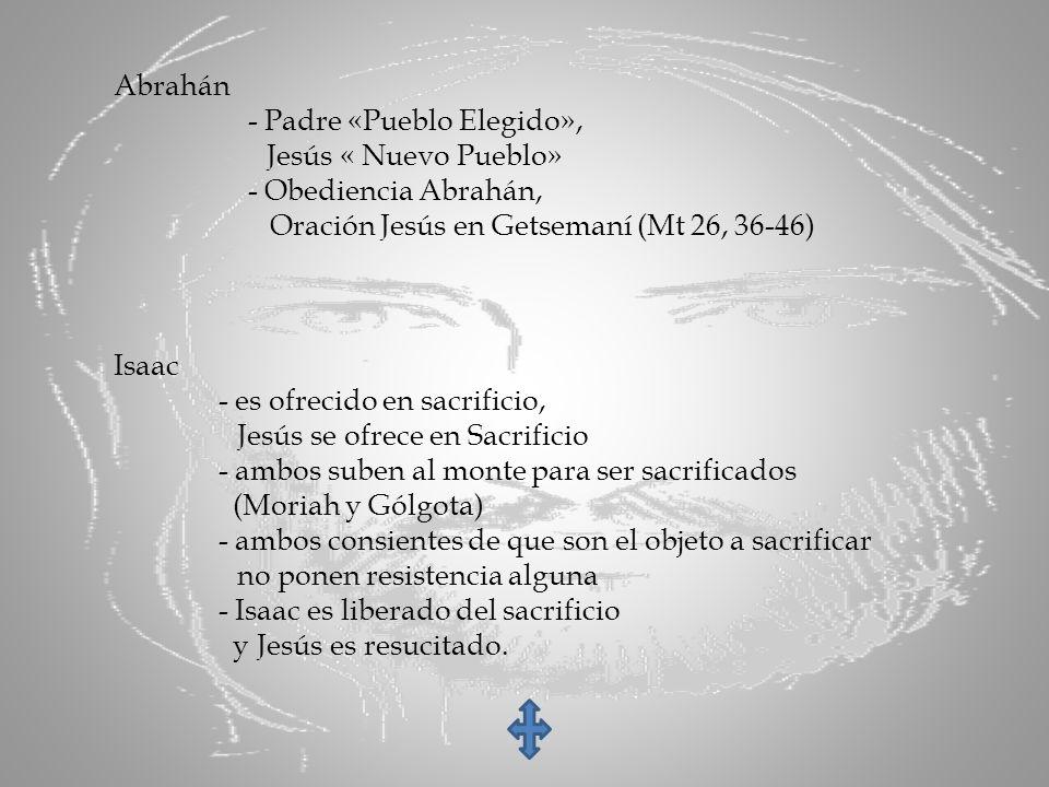Abrahán - Padre «Pueblo Elegido», Jesús « Nuevo Pueblo» - Obediencia Abrahán, Oración Jesús en Getsemaní (Mt 26, 36-46) Isaac - es ofrecido en sacrifi