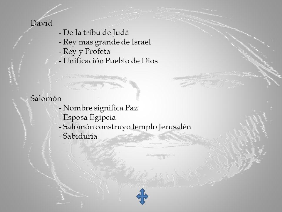 David - De la tribu de Judá - Rey mas grande de Israel - Rey y Profeta - Unificación Pueblo de Dios Salomón - Nombre significa Paz - Esposa Egipcia -
