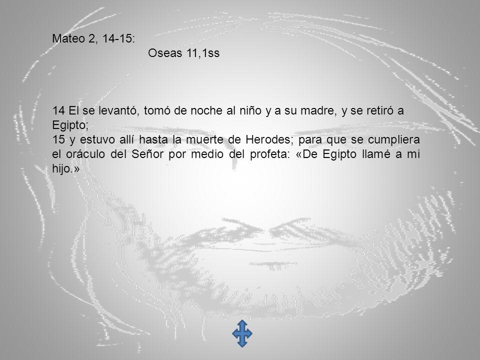 Mateo 2, 14-15: Oseas 11,1ss 14 El se levantó, tomó de noche al niño y a su madre, y se retiró a Egipto; 15 y estuvo allí hasta la muerte de Herodes;