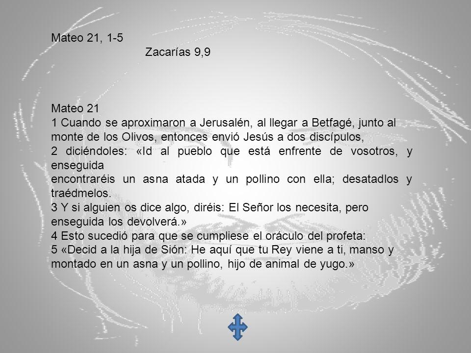 Mateo 21, 1-5 Zacarías 9,9 Mateo 21 1 Cuando se aproximaron a Jerusalén, al llegar a Betfagé, junto al monte de los Olivos, entonces envió Jesús a dos