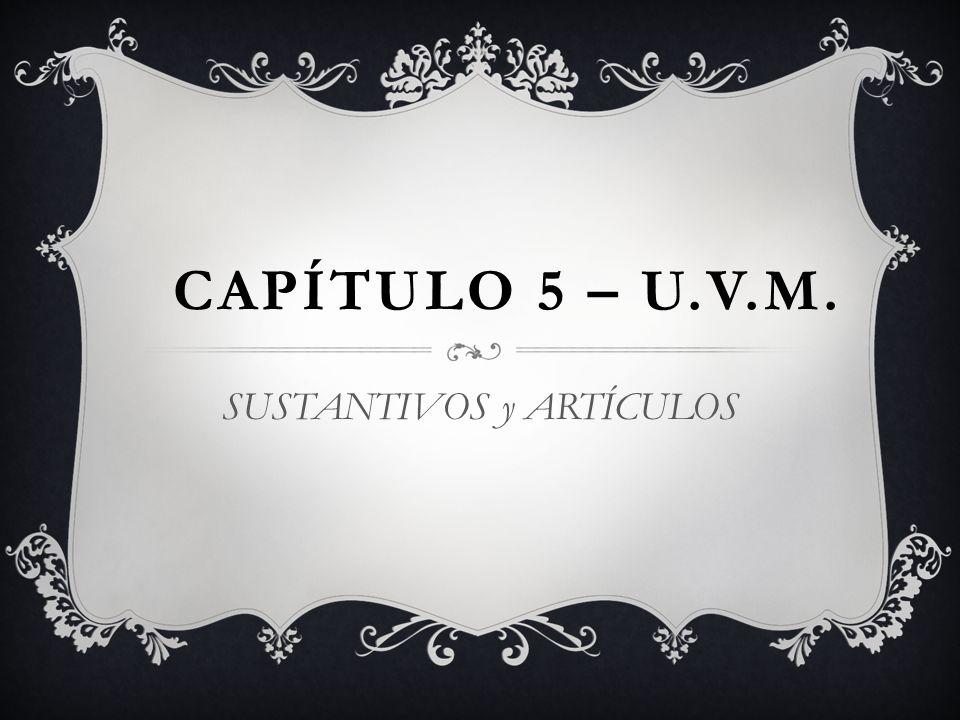 CAPÍTULO 5 – U.V.M. SUSTANTIVOS y ARTÍCULOS