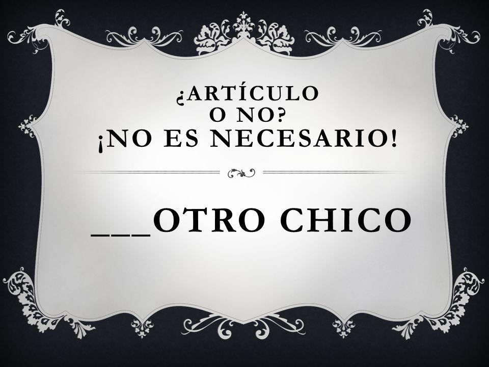___OTRO CHICO ¿ARTÍCULO O NO? ¡NO ES NECESARIO!