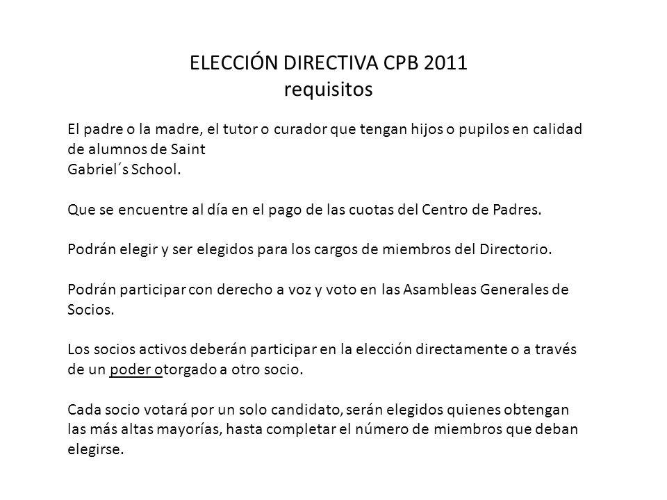 ELECCIÓN DIRECTIVA CPB 2011 requisitos El padre o la madre, el tutor o curador que tengan hijos o pupilos en calidad de alumnos de Saint Gabriel´s Sch